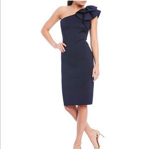 Eliza J Navy Ruffle One Shoulder Dress